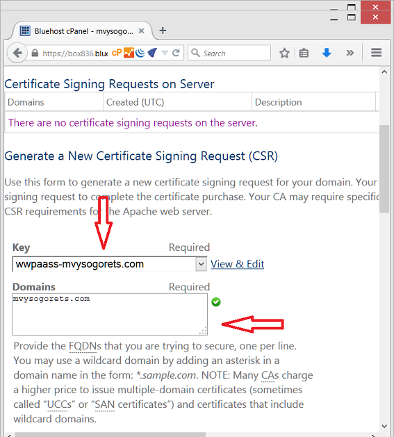 Bluehost getting wwpass service provider certificate with cpanel you will be presented with certificate signing request csr in the next window you may store it in the yourwebsiteurlr file on your computer yadclub Image collections